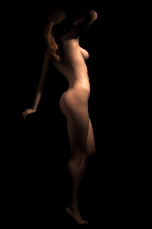 A photorealistic illustration of a young, attractive nude woman in deep shadow shot from the side.