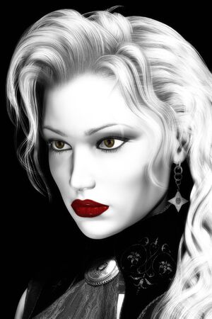 Artistic digital illustration of attractive woman done in high contrast black and white with selective color elements.