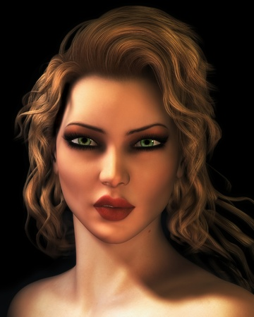 cgi: A digital photo-realistic illustration of a portrait of an attractive, young blond woman.