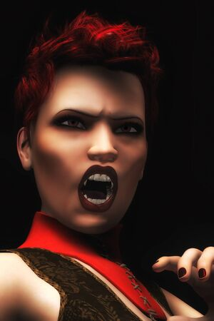 A photo-realistic, digital illustration of a red-headed female vampire illustration