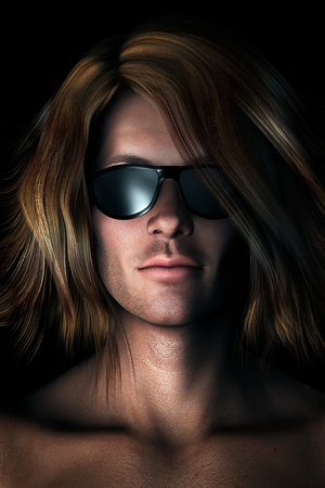boy long hair: Photo-realistic, digital illustration of cool guy with long messy hair wearing sunglasses.