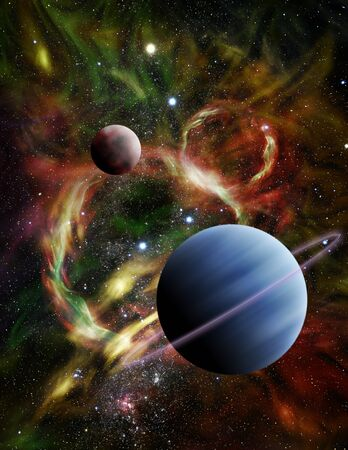 astral: Illustration - A pair of alien planets float among the stars and a fiery nebula in deep space.