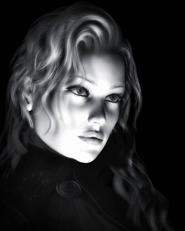 A digital illustration of a beautiful young woman in black and white and dynamic lighting Stock Illustration - 16653527