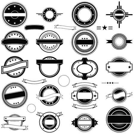 A collection of vintage style round labels, decals, or rubber stamp type graphics in vector format.