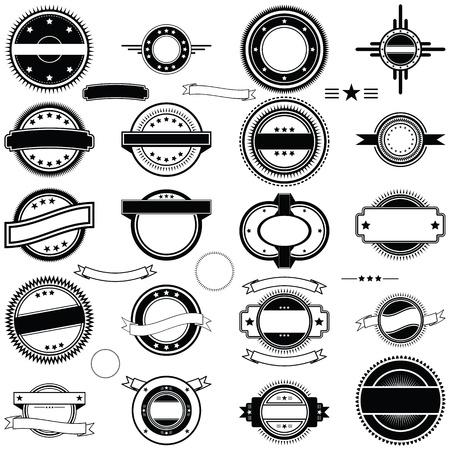 estampa: Una colecci�n de cl�sicos etiquetas redondas de estilo, calcoman�as, gr�ficos o caucho tipo de sello en formato vectorial.