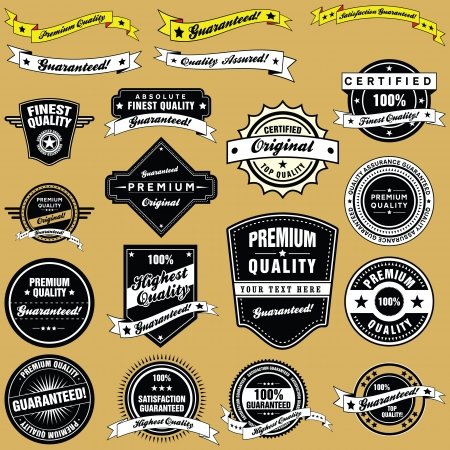 A collection of retro style premium quality and guarantee labels and banners in a set.