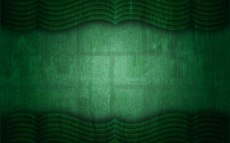 stylistic: A unique graphic design abstract background in green, textured and containing a curtain like top and bottom frame  Stock Photo