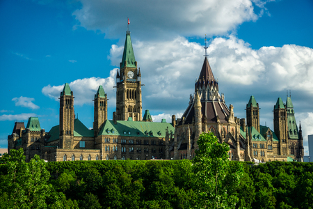 Image of Canada s Parliament Hill and Parliament Buildings, the seat of the federal government of Canada, taken from the back side of the buildings   photo