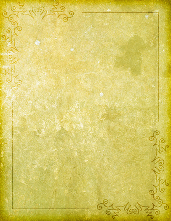 An old looking parchment paper or stone surface background with bordered corner flourish burnt-in accents design work