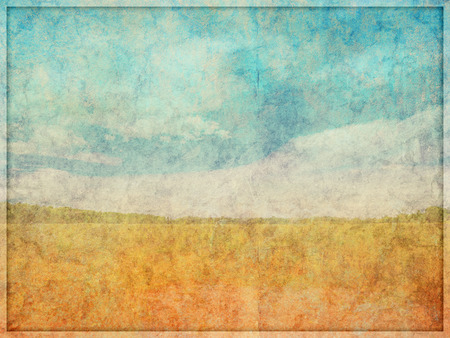 deteriorated: Illustration of a highly faded and worn, background texture with overlayed landscape like drawn scene.