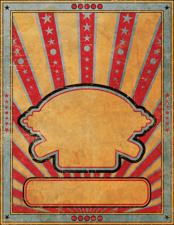 marquee sign: A highly faded and worn antique style blank handbill or poster grunge design template.
