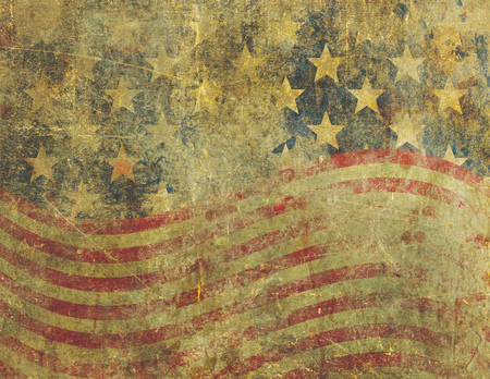 patina: A US American flag design in a grunge style heavily distressed, damaged and faded with the appearance of being old paint on concrete.