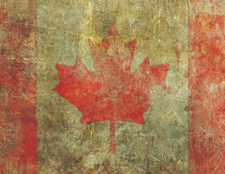 wornout: A Canadian flag design in a grunge style heavily distressed, damaged and faded with the appearance of being old paint on concrete.