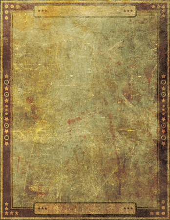 yellowing: An old and damaged grunge paper cover background design with illustrated border.