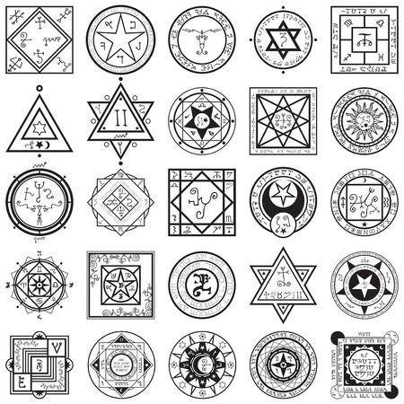 A vectors collection set of 25 unique magic and alchemy sigils and seals illustrations.