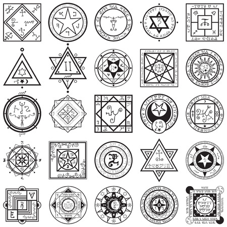 A vectors collection set of 25 unique magic and alchemy sigils and seals illustrations.
