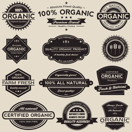A collection of 12 retro vintage style organic food label.