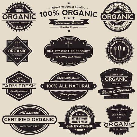 traslados: Una colecci�n de 12 etiqueta retro estilo vintage alimentos org�nicos. Vectores