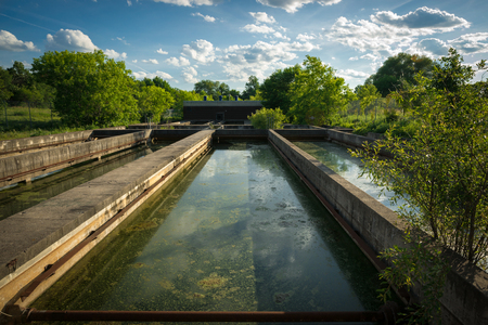 sedimentation: The slime covered sedimentation tanks or pools of an old abandoned water sewage treatment facility. Stock Photo