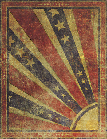 yellowed: Illustration of an old, highly damaged, faded and worn grunge paper poster background.