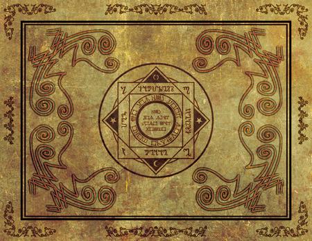 Illustration of a magical symbol design on parchment paper background. 版權商用圖片