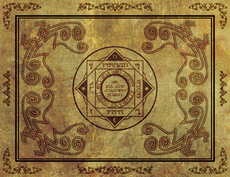 wiccan: Illustration of a magical symbol design on parchment paper background. Stock Photo