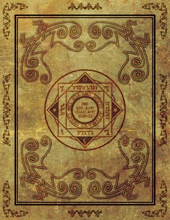 垂直アスペクト比でパーチメント紙の背景に魔法のシンボル デザインのイラスト。