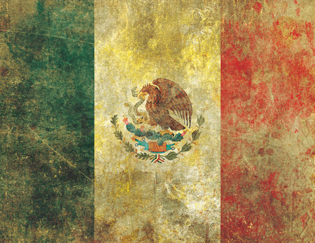 paint peeling: A heavily worn, damaged and faded old retro style grunge flag of Mexico with the appearance of faded paint on concrete or stone.