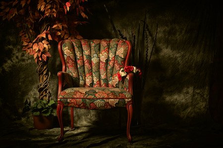 An empty, antique patterned chair shot in a chiaroscuro lighting style sitting next to artificial plant.