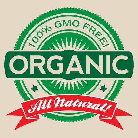Isolated vector label illustration reading '100% GMO Free', Organic, and 'All Natural'. Illustration