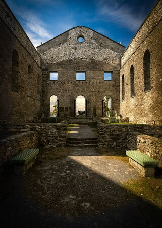 Interior of the ancient ruins of St Raphael church a national historic site in South Glengarry Ontario Canada.