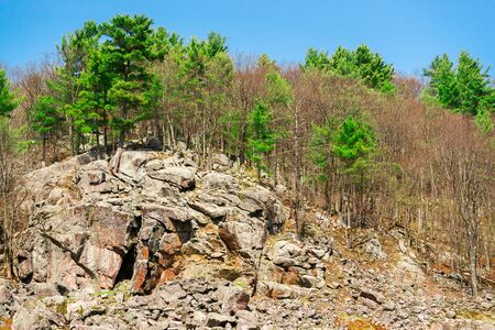 Landscape image of a large, rocky cliff adorned with evergreens and yet to bloom spring trees in the Canadian shield.