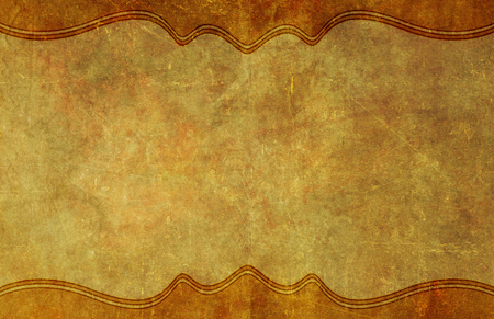yellowed: Old, worn and yellowed grunge paper background texture with top and bottom graphic border.