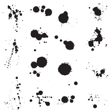 inkblots: A vector collection of fifteen different ink splatters, blots, blotches and drips graphic design elements.