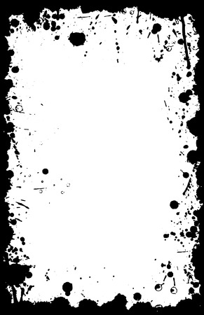 A vector border in grunge style with stains and ink splats in an 11X17 aspect format.