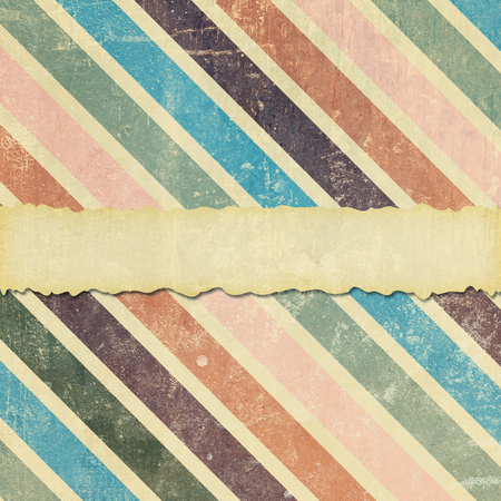 A square tile format background, faded, ripped and damaged with diagonal stripes and room for your text.