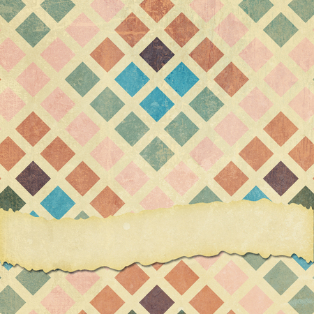 A square tile format faded, ripped and worn background graphic design with retro squares pattern and room for your text. Imagens