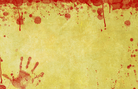 bloodstains: Background illustration of old, blood splattered paper or parchment surface with bloody hand print illustration. Stock Photo