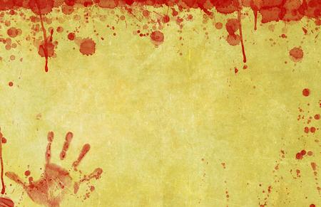 Background illustration of old, blood splattered paper or parchment surface with bloody hand print illustration. Standard-Bild