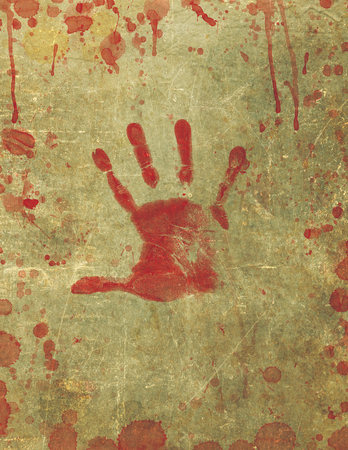 bloodstains: Illustration of a background texture with bloody hand print and blood splattered surface