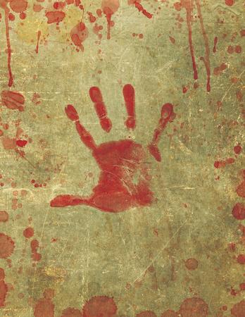 bloody hand print: Ilustraci�n de una textura de fondo con la impresi�n de la mano sangrienta y la superficie de la sangre salpic�