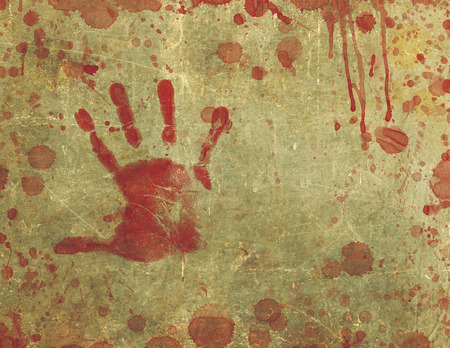 Illustration of a background texture with bloody hand print and blood splattered and blood stained surface.