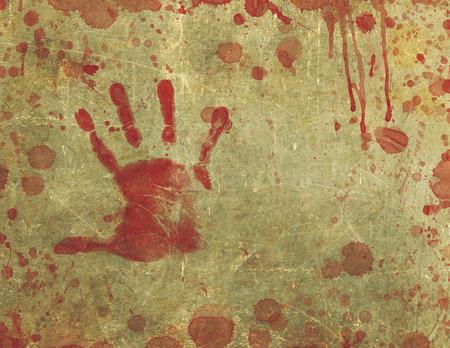 bloody hand print: Ilustraci�n de una textura de fondo con la impresi�n de la mano sangrienta y salpicado de sangre y la superficie manchada de sangre.