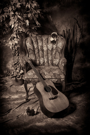 A vintage style image of an acoustic guitar leaning against an antique empty chair, shot in black and white.
