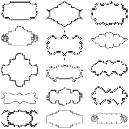A collection of stylish and decorative vector frames graphic design elements in a set of fifteen.