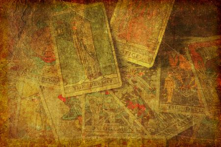散乱タロット カード大アルカナからのグループのテクスチャ、グランジ背景イメージです。