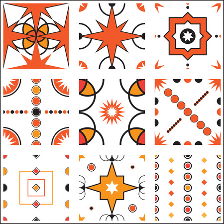 A collection of nine entirely seamless vintage, retro wallpaper pattern tile designs in vector format.