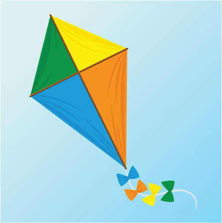 three color kite with ribbons