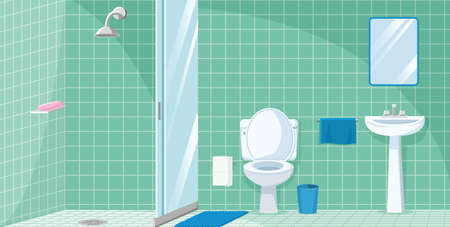 bathroom with shower, sink and toilet Ilustrace