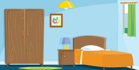 Recmara mit Holzbett und Kleiderschrank Standard-Bild - 42384167